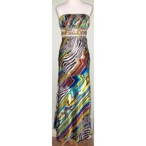 NWT Cache Multi color Strapless Gown long Dress S